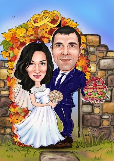 Где заказать прикольный шарж на свадьбу или годовщину свадьбы?