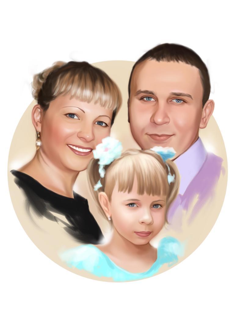 Семейный портрет по фото на холсте в Новосибирске — правильный подарок!